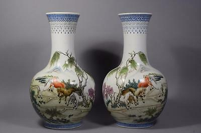Pair Chinese Republic Famille rose Vases Horses Playing in landscape