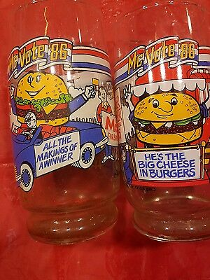 Vintage Set Of Two 1986 McDonald's McVote 86 Glass Big Mac Collectible Glass Cup