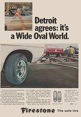 1968 Firestone: Detroit Agrees Its a Wide Oval World (27081) Print Ad