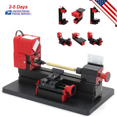 6in1 Mini Lathe Tool Motorized Machine Wood Turning Metal Lathe Milling Drilling