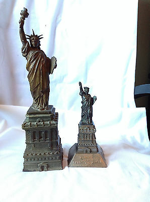 Two Rare American Committee Statue of Liberty Metal Figure Souvenirs Made 1880s