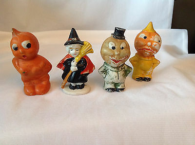 "Original Vintage 1930s JAPAN 3"" Halloween BISQUE Figures Pumpkin Witch L@@@K"