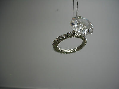 """Solitaire Faux """"Diamond"""" Silver Band Engagement Ring Love Ornament NWT"""