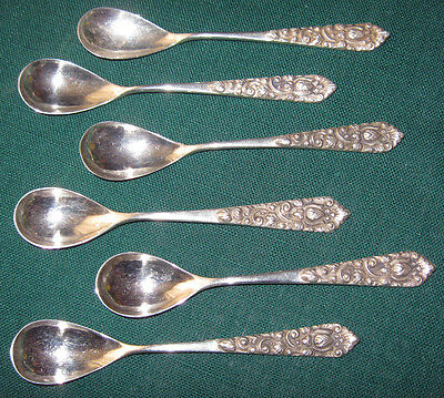"""6 Silver Coffee Spoons Floral 800 Sterling Continental """"MD"""" Indonesia"""