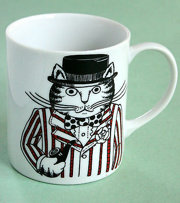 Cat Ceramic Mug Dapper Dresser Bow Tie Pipe Hat Striped Jacket Man Coffee Vtg