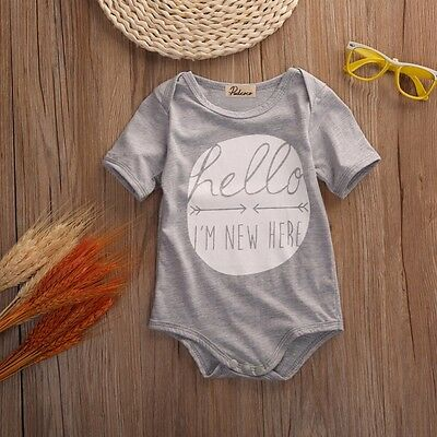 Baby Short Sleeve Body Suit Hello I'm New Size 0