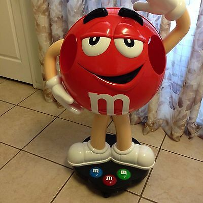 """Red M&M Candy Character 39"""" Tall Store Display On Wheels Floor Display"""