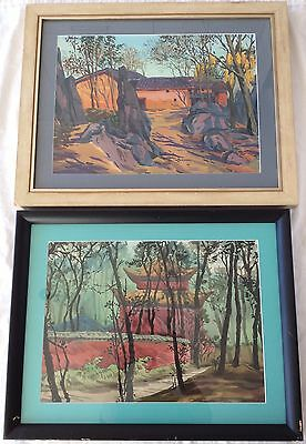 2 x vintage Chinese watercolour painting, temple & house, China artist Asian art