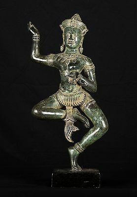 Antique Khmer Style Bronze Apsara or Angel Statue - 51cm/21""