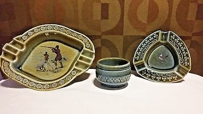 Lot of 3 Wade Irish Porcelain Pieces - 2 Ashtrays and 1 Small Jar
