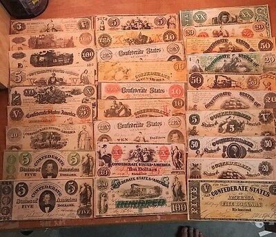 Copy Reproduction 1861 CSA Confederate Set T1-T36 US Paper Money Currency