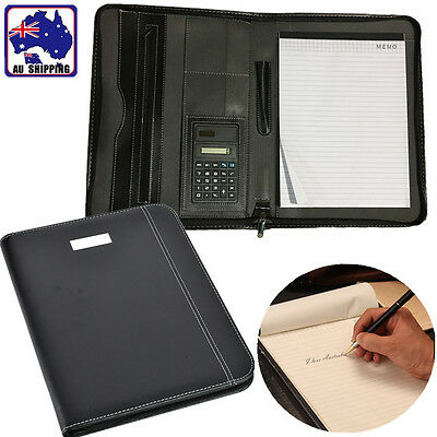 A4 Conference Folder Zipped PU Leather Look Portfolio w/ Calculator SFPP69401