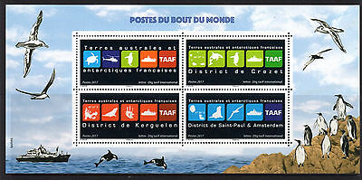 French Antarctic Territory 2017 Districts & Territory Emblems Sheetlet 4 MNH