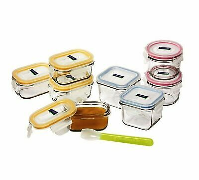 NEW GLASSLOCK 9 PIECE BABY FOOD CONTAINER SET WITH LIDS Tempered Glass BPA FREE