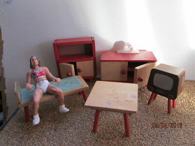 Lot Of Wooden Dolls House Furniture For The Sitthing Room  - Very Good Used