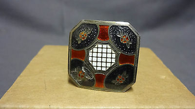 Antique Unusual Square Yellow Metal & Blue Red & White Enamel Hat Pin
