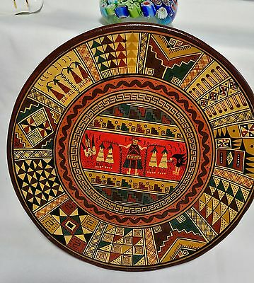 Collectable handmade  pottery wall plate by Raqchi Peru Dia20cm