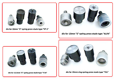 Setting tools dies press studs buttons 10/ 12.5/ 15 mm. for hand press machine