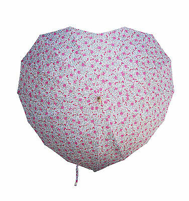 Sass & Belle Vintage Floral May Heart Shape Umbrella/Parasol Wedding/Bridesmaids