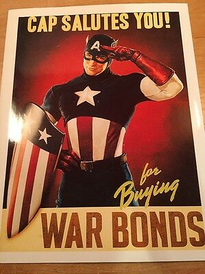 """WWI WWII US World War Propaganda Posters 8x10 """"Captain America"""" Reproduction"""