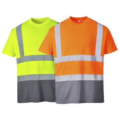 S378 Portwest Two Tone T-shirt Hi Vis Mens Workwear Safety Tee Top