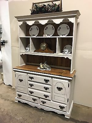 Viintage painted hutch with barn wood