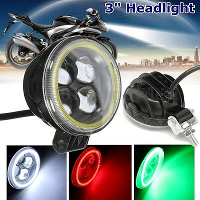 """3"""" Motorcycle Round Projector 4 LED Headlight Fog Lamp With Angel Eye Halo Ring"""