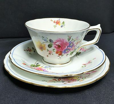 """Royal Crown Derby Rare """"Blue Line Posies"""" Pattern Trio - Excellent Condition"""