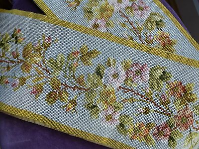 Antq Victorian style embroidered needlepoint panel pelmet bellpull 180cm x 18cm