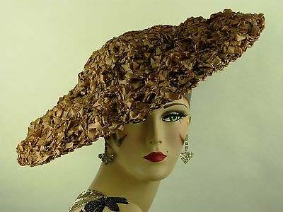 VINTAGE HAT 1940-50s, LILLY DACHE, TAUPE WOVEN STRAW ULTRA WIDE BRIM HAT w BOW