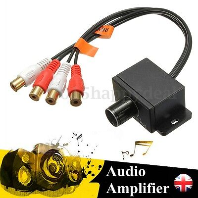 Car Audio Subwoofer Amplifier Bass RCA Gain Level Volume Control Knob Remote -UK