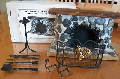 Vintage NEW~Miniature Dollhouse Concord Stone Fireplace~Tools~Rooster Screen++