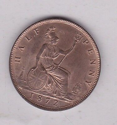 1872 Victoria Jubilee Head Half Penny In Mint Condition With Full Lustre