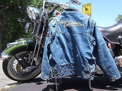 Harley Davidson Panhead Denim Jacket Vest Small Leather Zipper Pulls