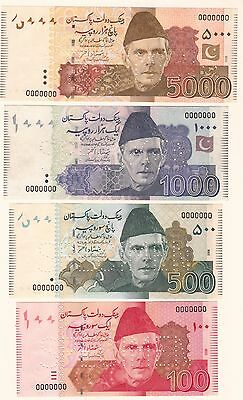 Pakistan Shamshad Akhtar Complete Specimen Set Rs 5 To Rs 5000 Total 8 Note Unc