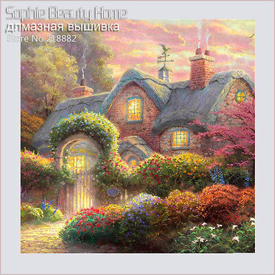 SUNSET COTTAGE FULL DIAMOND PAINTING KIT 5D CROSS STITCH MOSAICS 25x25CM