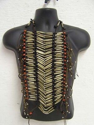 Native American Economy Antique Breastplate Black Ribbon Ties Clothing Tribal