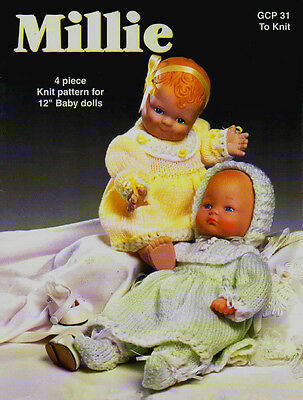 "COPY_Vintage Knitting Pattern  Millie # GCP31 Doll Clothing 12"" Baby Doll  8 Ply"