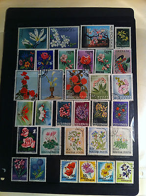 Flowers collection of 32 Different Stamps Poland, Bhutan, Hungary, Sharjah, more