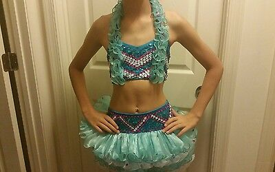 Glamour 2 piece turquoise tutu jazz tap costume size large child