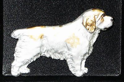 Clumber Spaniel~  Dog Handpainted Pin~White Clumber