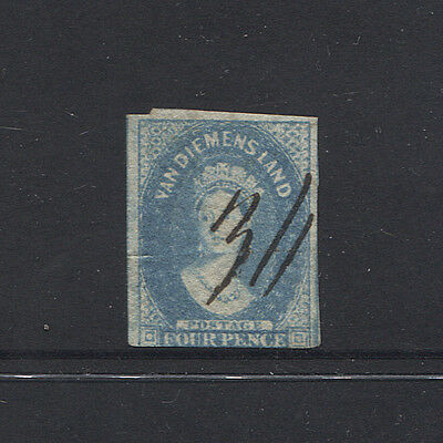 TASMANIA 1850s/60s: 4d pale blue Chalon - '36' mss cancel used at HUON (3547)