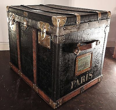 Antique French Travelling Trunk (Restored) Marked Paris