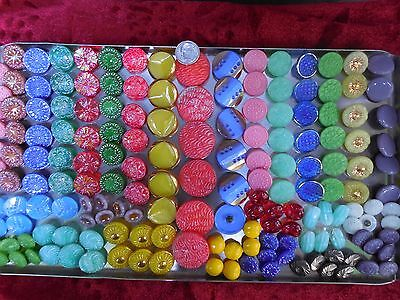 168 Lot Old Czech Vintage Glass Buttons
