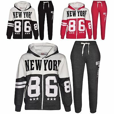 Kids Tracksuit Boys Girls Designer's  New York 86 Print Jogging Suit 7-13 Years