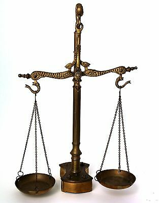 Vintage Brass Scale Balance With Fish Engraving Rare Complete
