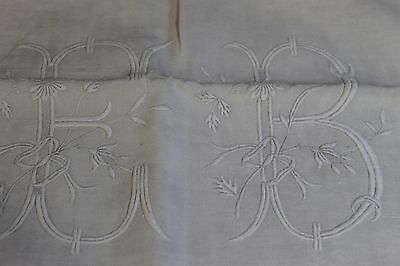 Antique French Pure Linen monogrammed Vintage EB Embroidered BE