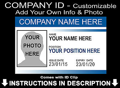 Make Your Own Business ID Badge Card Staff Personalised Add Name + Photo
