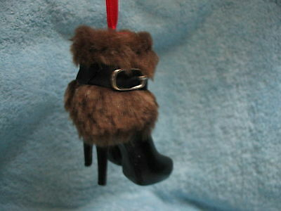 Black Boot w Brown Fur Trim Fashion Ornament - Dress for Success High Heel Boot