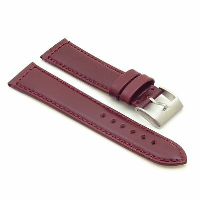 StrapsCo Smooth Leather Watch Band Strap in Maroon w/ Stainless Buckle